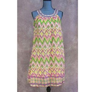 NEW Magic Beaded Collar Dress Pink Purple Green S